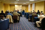 Conference participants meet in a room of the Atlanta Marriot Downtown.