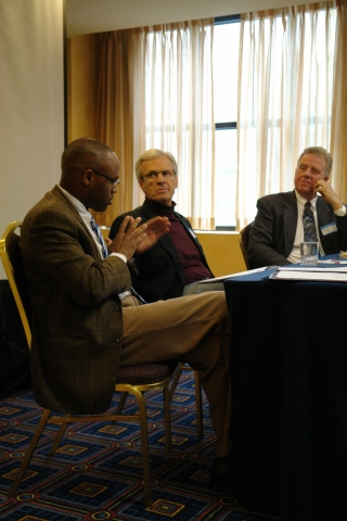 Dr. Maury Jackson (LaSierra University) and Dr. Charles Scriven (Kettering College of Medical Arts) discuss their papers in a session moderated by Dr. David Larson (Loma Linda University).