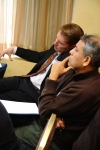 Dr. Nicolas Miller (Andrews University) and Dr. Hans Gutierrez (Italian Adventist College-Villa Aurora) listen to a presenter.